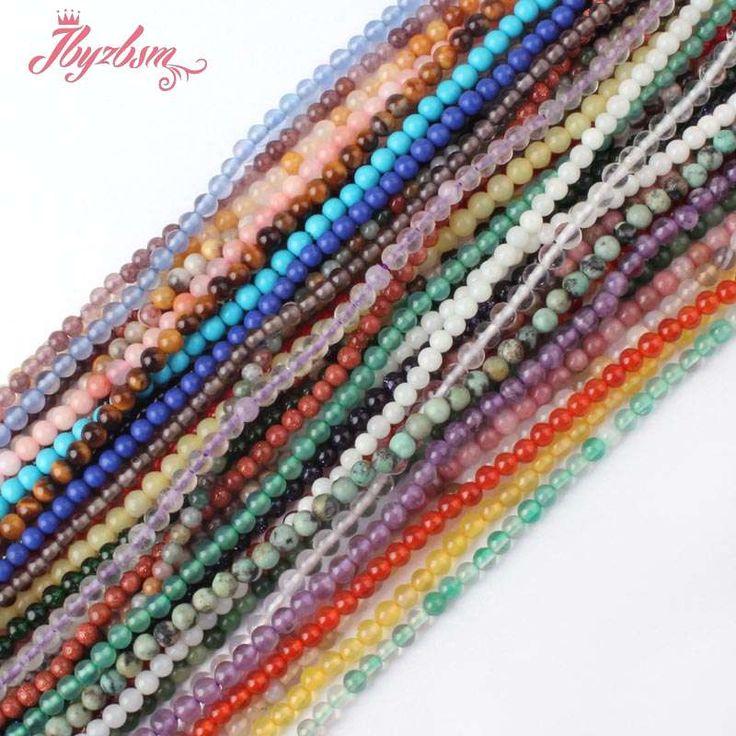 """2mm Natürlichen Kleinen Runde Edelstein Perlen Spacer Strang 15 """"Für DIY Armbänder Halskette Schmucksachen, Großhandel freies Verschiffen"""