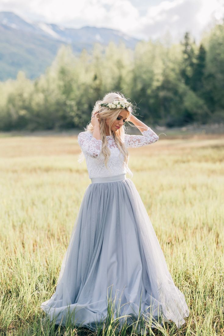 Audrey Lace 3/4 Sleeve Top and Chloe Maxi Tulle Skirt by Bliss Tulle Photographer: Kylee Ann Studios