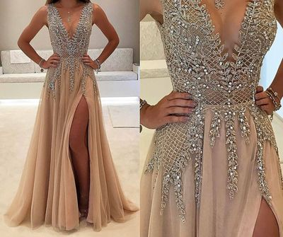 Shinny Prom Dress with deep v-neck,Nude Chiffon Long Formal Dress with Slit,PD2079