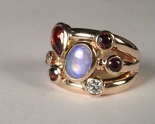 garnet opal and diamond ring