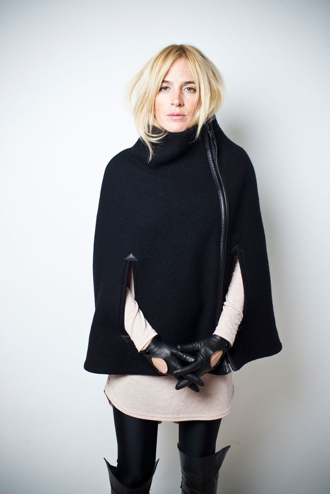 Leather Leggings, Structured Lux Poncho & Over The Thigh Boots