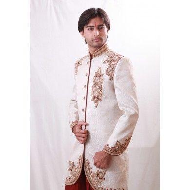 #Designer #sherwani with lovely resham patch on its side.  Buy online at www.ethnickurtas.com