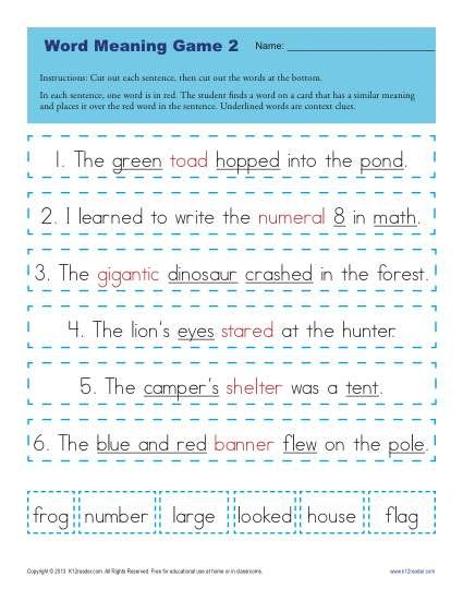 Printable Word Meaning Game - The worksheet is a great way to practice 1st grade Language for Common Core Standards.