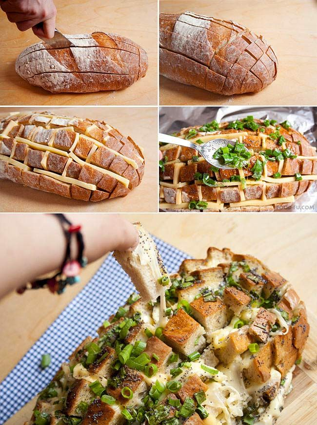 Make easy cheesy bread with an already-baked loaf.