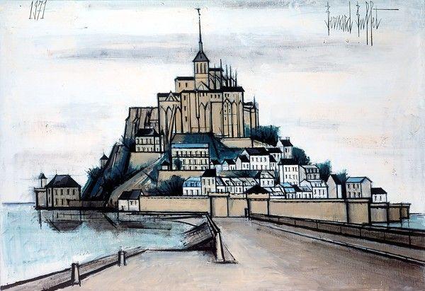 Bernard BUFFET ( 1928 - 1999 ) - 'Abbaye de |Mont Saint Michel'- 1971