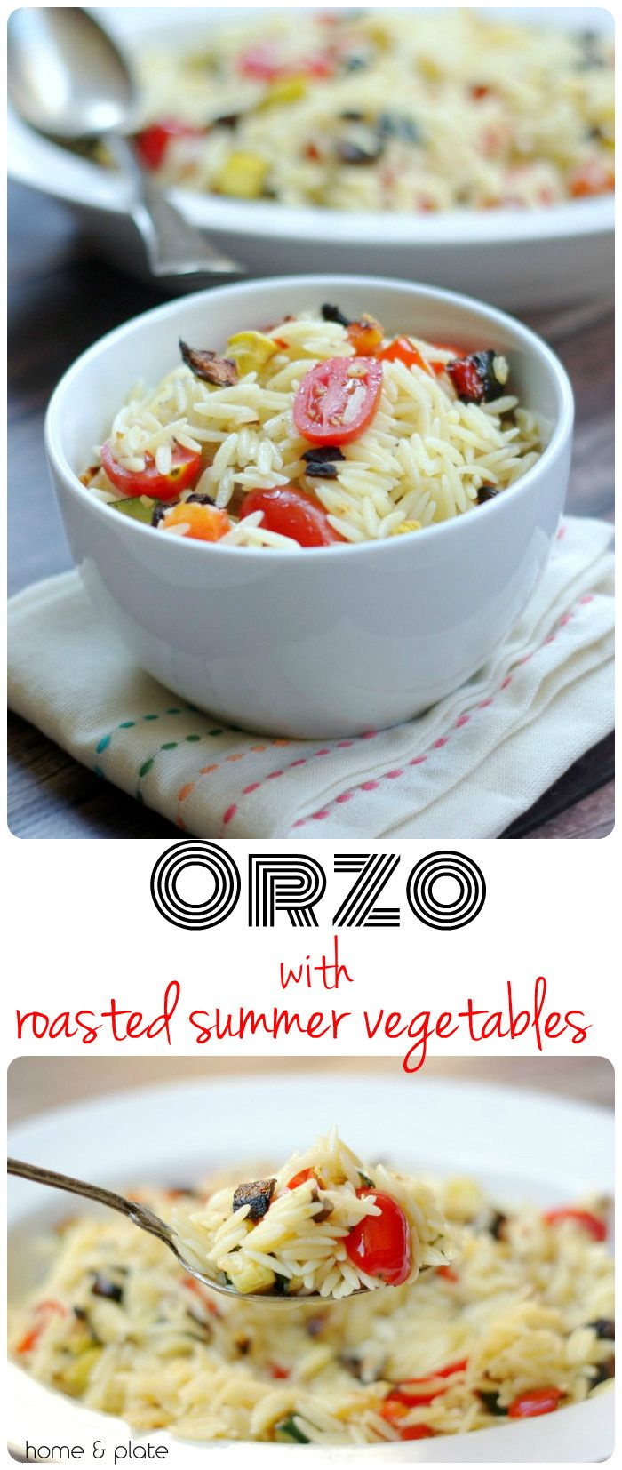 Orzo with Roasted Summer Vegetables | Home & Plate | www.homeandplate.com | This summer pasta side dish goes perfectly with anything off the grill.
