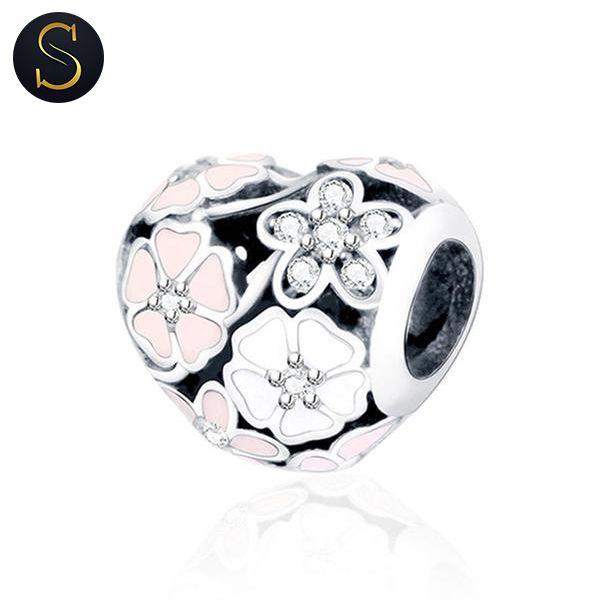 Charms Cœur Fleurs Blanches et Roses - Argent | Fabrication bijoux ...