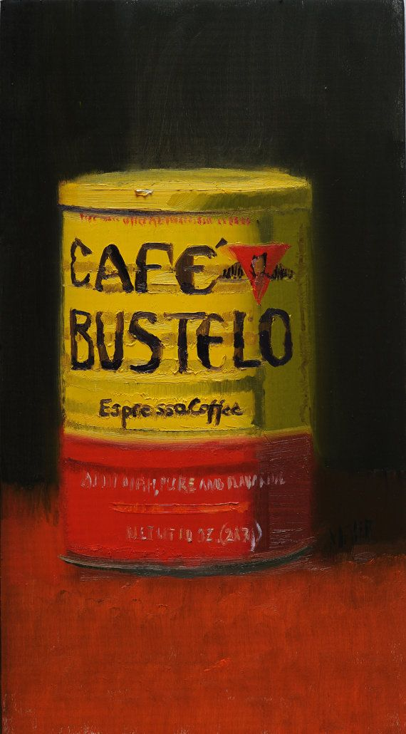 still life cafe bustello 5x7' oil on wood by eastsidepaint on Etsy, $325.00