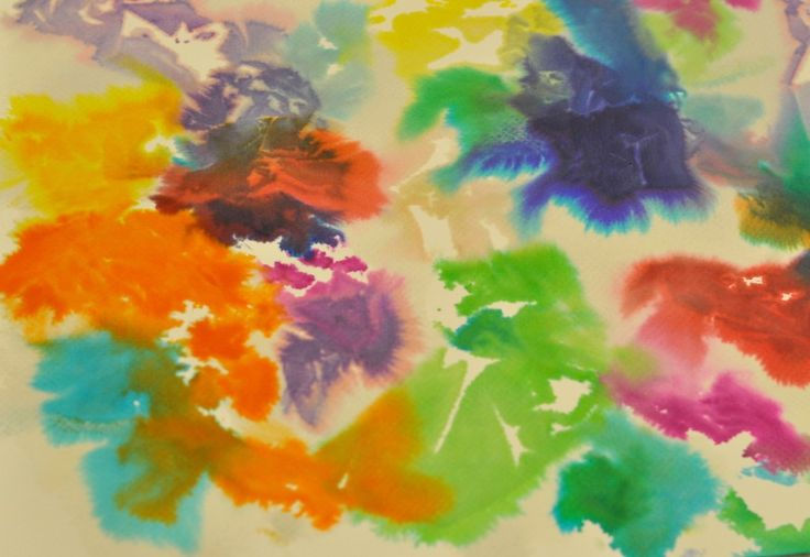 Tissue paper painting - place ripped tissue paper on heavy pourous paper. Spray with water. Let dry completely. Remove tissue paper.