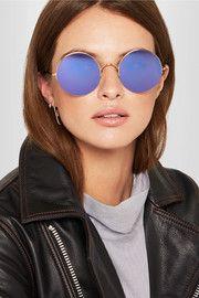 Raine round-frame gold-tone mirrored sunglasses