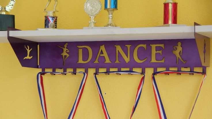 Dance Trophy Shelf And Personalized Medals Display Medals