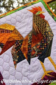 Quilt Fabrication: Fred, the Fugitive! love the chicken wire quilting - maybe use on the chicken table runner