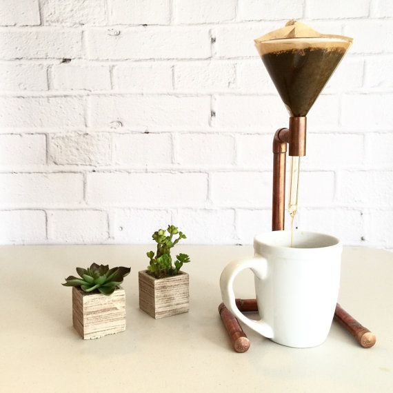 This copper pipe pour over coffee maker is going to be the coolest thing on your kitchen counter. The copper pipes are hand soldered for strong
