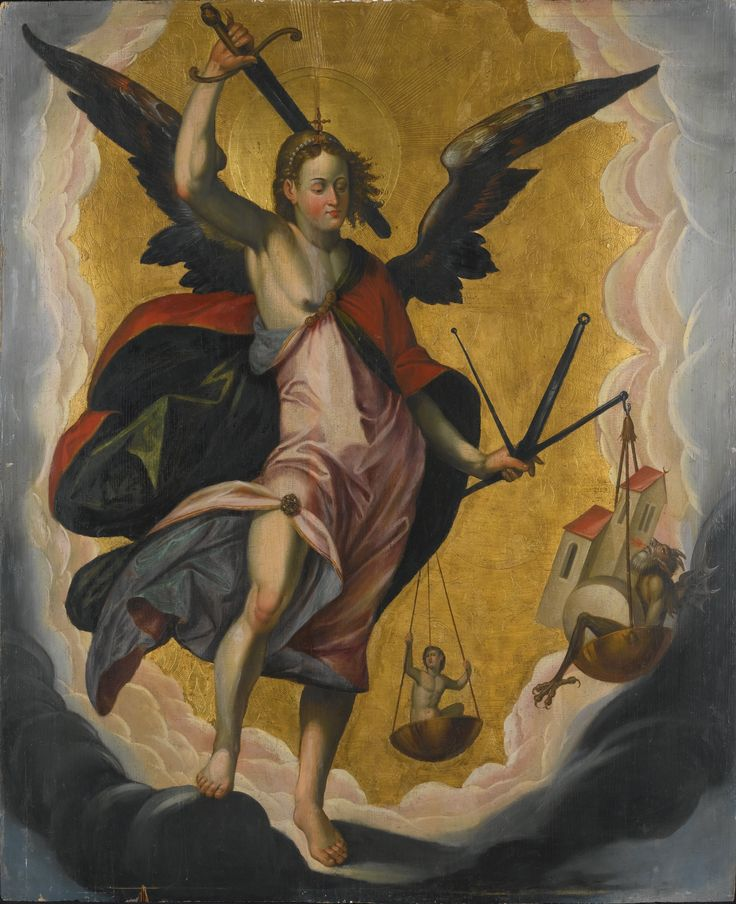 South German School, circa 1600 THE ARCHANGEL MICHAEL oil and gold ground on panel 134 by 110 cm.; 51 3/4  by 43 1/4  in: