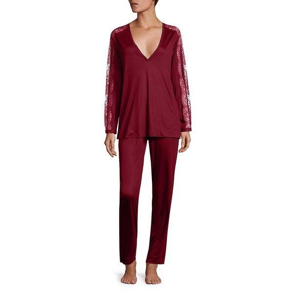 La Perla Charisma Pajamas ($186) ❤ liked on Polyvore featuring intimates, sleepwear, pajamas, long sleeve pajamas, long sleeve lingerie, long sleeve pyjamas, lingerie pajamas and la perla lingerie