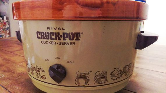 The trusty Rival Crockpot! A staple in any kitchen. This vintage 1980s slow cooker is ready to stand proudly in your home. Whether you use it for a