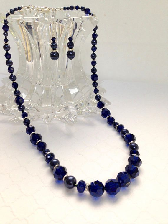 Navy Blue Crystal Necklace & Earrings Swarovski Crystals