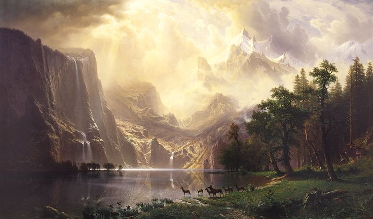 "Albert Bierstadt, Among the Sierra Nevada Mountains, California, 1868, Smithsonian Art Institute, D.C. ""all by all and deep by deep and more by more they dream their sleep noone and anyone earth by april wish by spirit and if by yes. Women and men(both dong and ding) summer autumn winter spring reaped their sowing and went their came sun moon stars rain"" (E.E. Cummings, anyone lived in a pretty how town)"