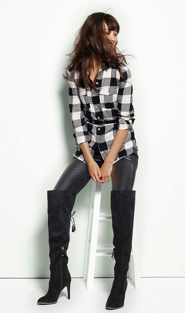 It's all about over-the-knee boots this fall, and this pair will take any look in the classy-cool direction—keep things simple with a belted plaid shirt and leggings.