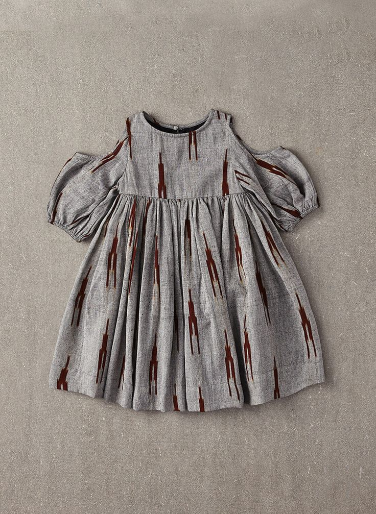 Nellystella Vanessa Dress in Grey & Brown Ikat - N15F009 - PRE-ORDER – Hello Alyss - Designer Children's Fashion Boutique