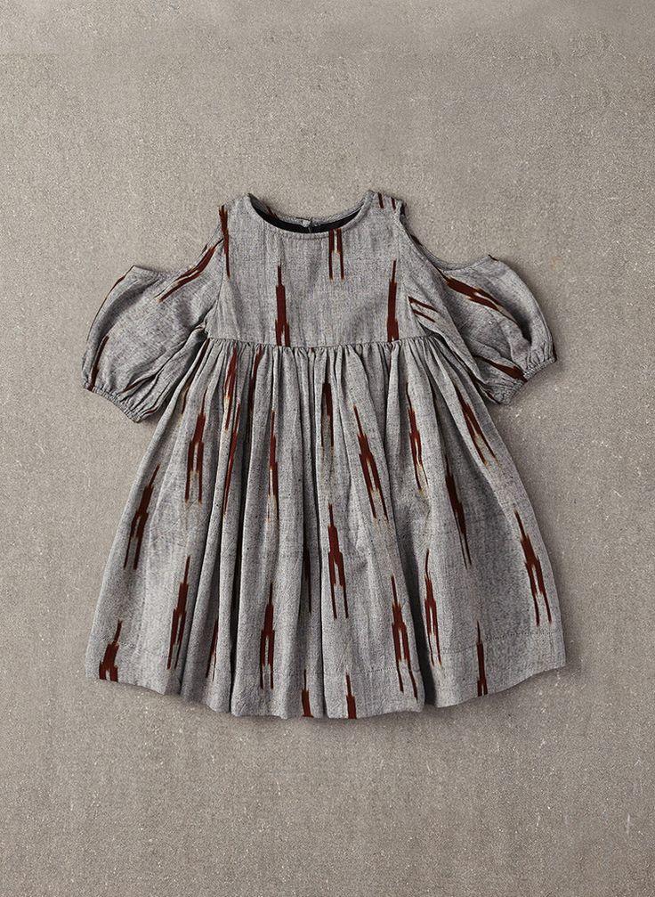 Nellystella Vanessa Dress in Grey & Brown Ikat - N15F009 - PRE-ORDER – Hello Alyss - Designer Children's Fashion Boutique