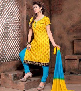 Yellow Printed Chanderi Unstitched Salwar Kameez