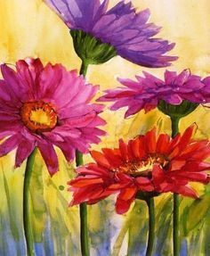 Image result for flowers with butterfly painting easy