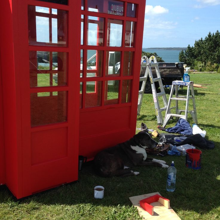 """Installing """"Call me I love you"""" at NZ Sculpture on Shore"""" 2014"""