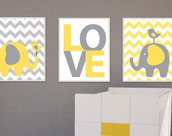 Nursery Yellow and Gray Family Of Elephants Art Print, Baby Boy or Girl Chevron Bedroom Decor Wall Art Print- A133 - custom colour -Unframed  This