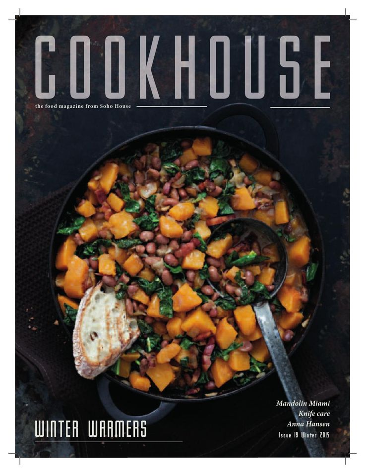 As the weather gets colder for most of us, it's all about slow, simple cooking, packed with flavour. Check out our chefs' delicious ideas from page 20 onwards. We also have the insiders' guide to Chicago eating; interviews with chefs Anna Hansen in London and Daniel Achilles in Berlin, recipes from two brilliant new books by Trine Hahnemann and Ollie Dabbous, an expert guide to keeping your knives shiny and sharp by the Japanese Knife Company and all the food news from Soho House venues ...