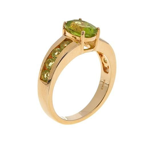 Sevilla Silver™ with Technibond® 1.48ctw Oval and Channel-Set Peridot Ring