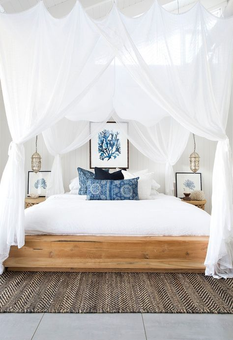 Use flowing linens, blue accents, + seashell accessories to transform your space into swoon-worthy oasis.