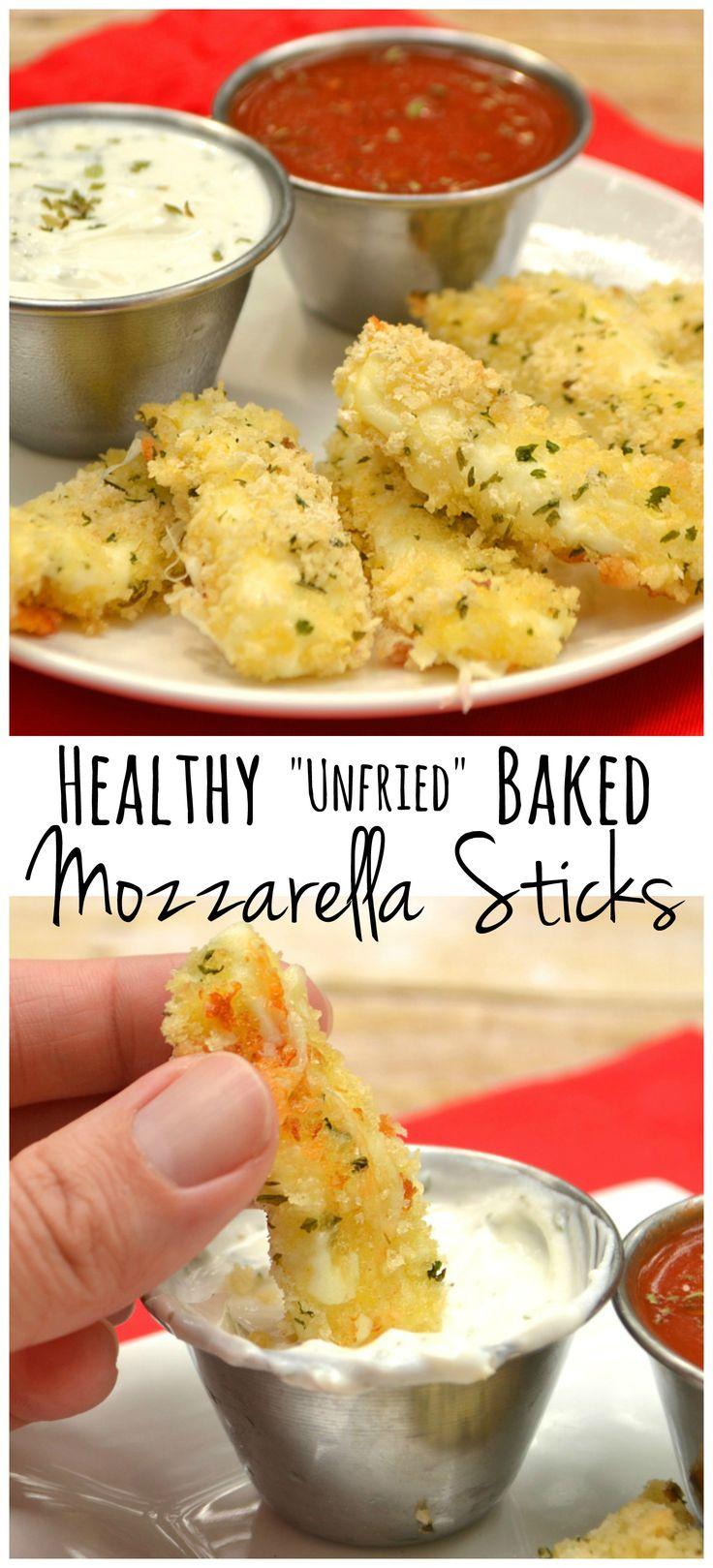 """Unfried"" Baked Mozzarella Sticks - crunchy & gooey cheesy goodness without…"