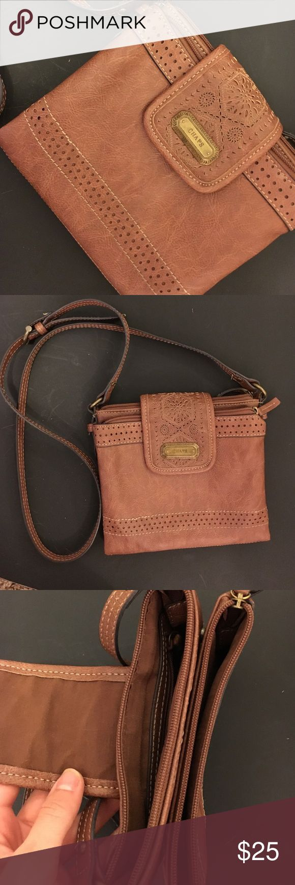 Chaps crossover bag/purse real leather NWOT Chaps crossover leather bag! Chaps Bags Crossbody Bags