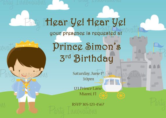 Printable Prince Birthday Party Invitation by PartyInnovations09, $10.00