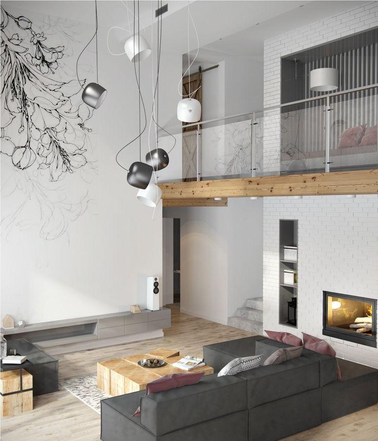 Minimalistische Wohnung, die Ideen mit grauem Farbschatten und übersichtlichem Design verziert