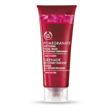 The Body Shop POMEGRANATE SOFTENING FACIAL WASH 100ML The Pomegranate range addresses the signs of ageing. This cleanser softly cleanses and refreshes skin. • Cleanses and refreshes • Leaves skin feeling soft and silky • Contains pomegrante extract to help the skin remain plump