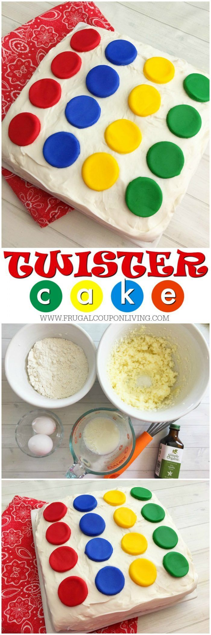 Right hand on red, left foot on yellow! Twister Cake Recipe and Tutorial on Frugal Coupon Living. Plus other Family Game Night Snacks, Ideas and Hacks.