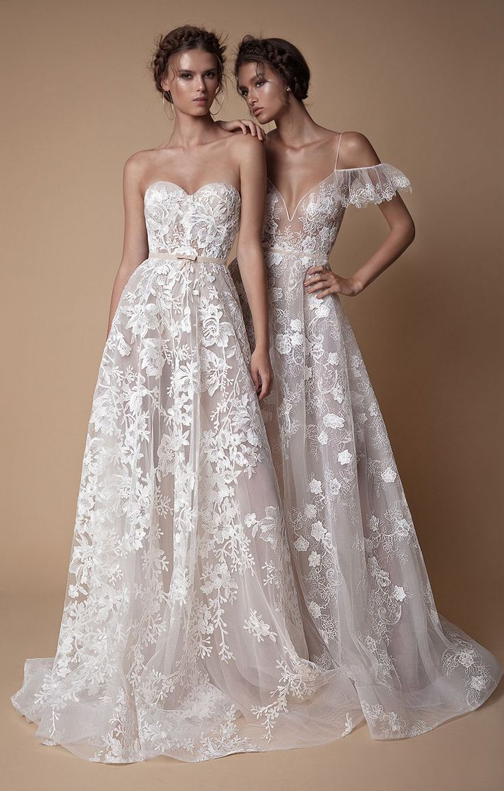 Gorgeous sheer sexy  sleeveless and strapless wedding gowns with intricate lace detail and delicate skirts // The second Muse collection from Berta bridal is sexy yet sweet and features sheer fabrics, illusion bodices, intricate lace, wispy tulle, floral embroidery, high slits, skinny straps, plunging necklines, shimmering details, collared bodices, and cold-shoulder sleeves.