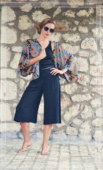 Black Jupe Culotte - Black crop top and Boho Kimono Boho Chic Style ~Summer Style~ Badila Fashion Spring-Summer '15