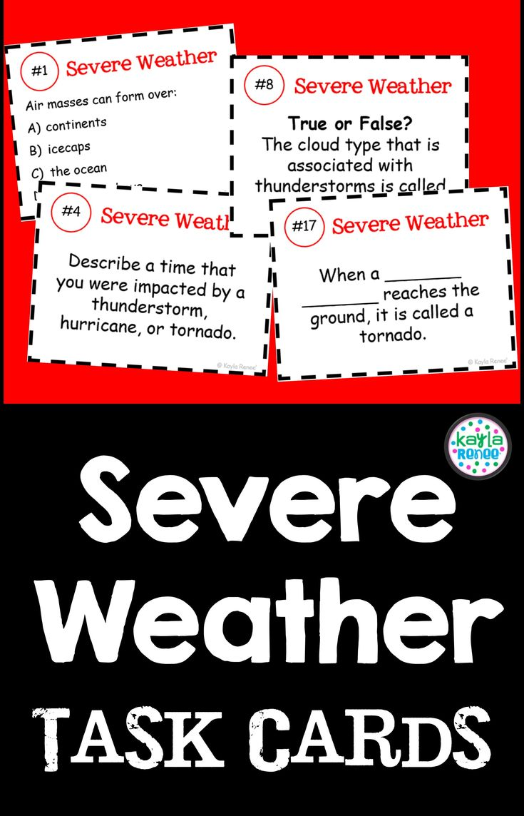 Weather Activity Middle School (Severe Weather Task Cards