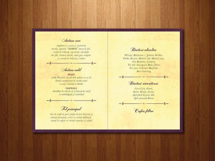 """Interiorul meniului pentru invitația tip """"carte""""."""