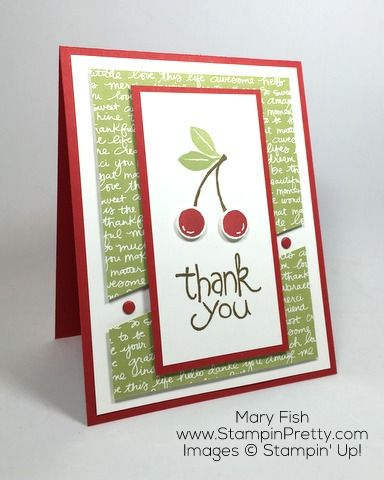 A fresh and modern thank you card using Apple of My Eye stamp set.  Created by Mary Fish, Independent Stampin' Up! Demonstrator.  Details, supply list and more card ideas on http://stampinpretty.com/2016/02/thank-you-with-a-cherry-on-top.html