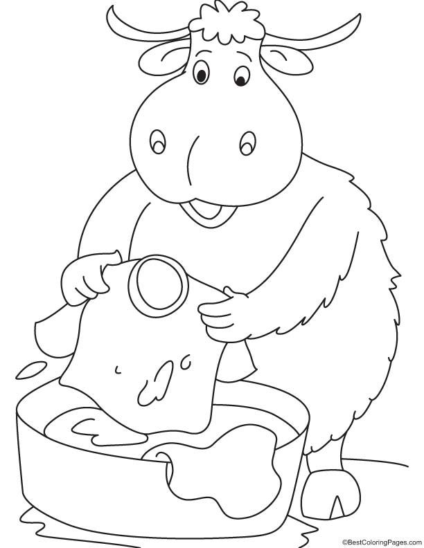 Yak Washing The Clothes Coloring Page