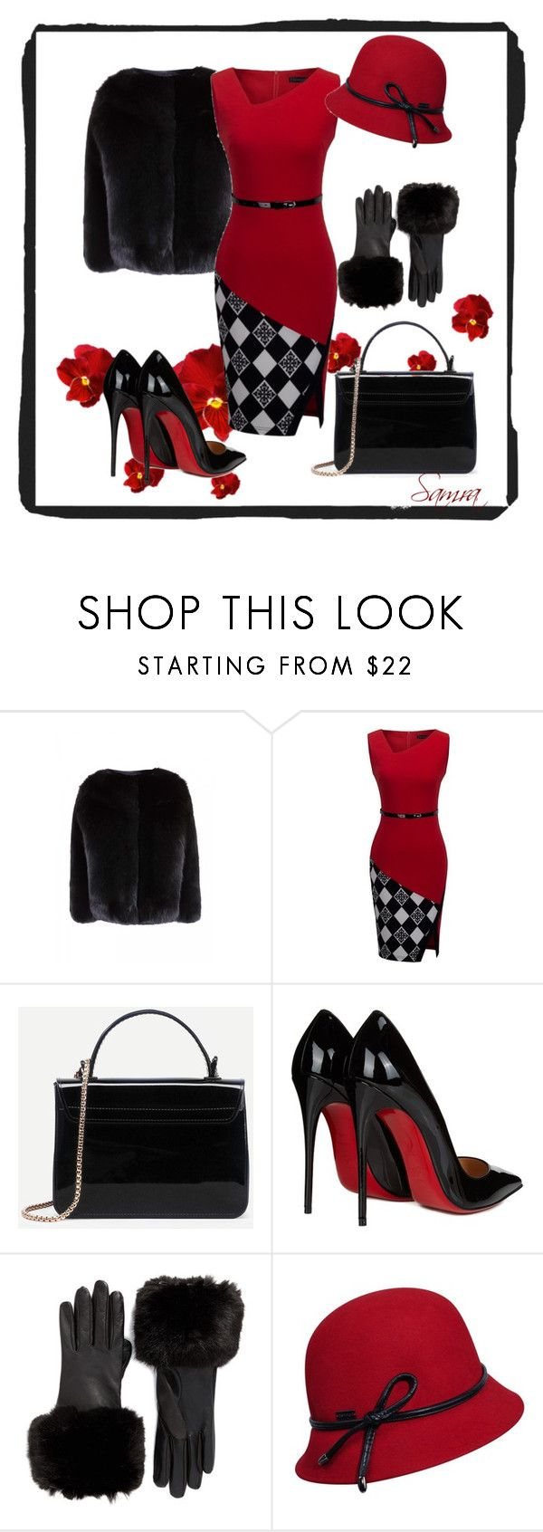 """""""Black&Red"""" by samra-dzabija ❤ liked on Polyvore featuring Christian Louboutin, Ted Baker, Betmar, black, red, dress and coat"""