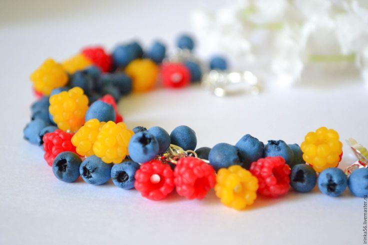 """Купить Браслет """"Микс"""" - комбинированный, морошка, ежевика, черника, ягоды, ягодное, браслет ягодный"""