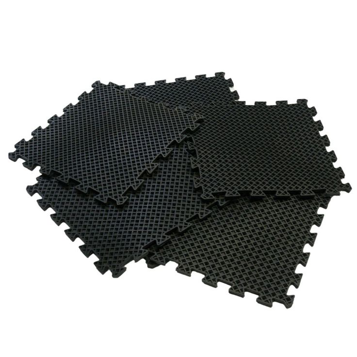 """Rubber-Cal """"Eco-Drain"""" Interlocking Rubber Tiles - 5/8 x 20 x 20 inch - Pack of 4 Drainage tiles, 11 Square Feet Coverage - Black Rubber Mats. Special drainage tiles for use in commercial or industrial applications. Drainage tiles offer easy installation with a simple interlocking mechanism that anyone can use!. Thick interlocking rubber tiles provide extra anti-fatigue comfort as well as anti-slip safety. Made with a mixture of natural and reclaimed rubber for a truly eco-friendly…"""