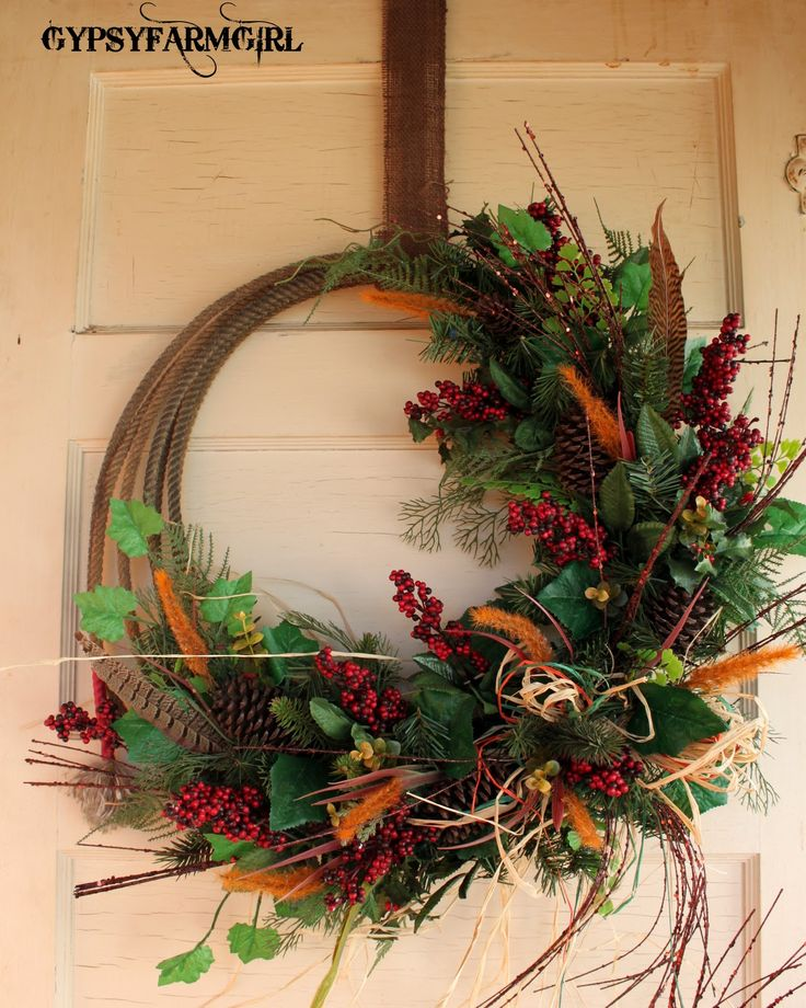 Rope wreathFarms Girls, Christmas Wreaths, Ropes Wreaths, Fall Decor, Cute Ideas, Fall Wreaths, Wreaths Ideas, Westerns Wreaths, Floral Wreaths