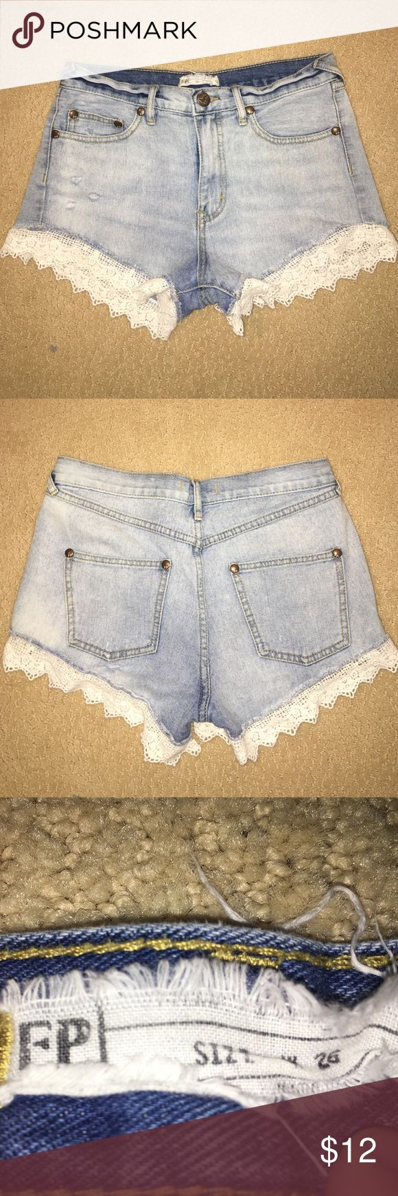 'Free People' Washed Denim Underlace Shorts These 'Free People' shorts were my absolute favorite shorts! They are so fun, girly, comfortable, and form-fitting and they go with any type of style! They have a BEAUTIFUL lace pattern at the bottom of the shorts. The lace has a crocheted look that helps make any girl look super chic and boho! Free People Shorts Jean Shorts