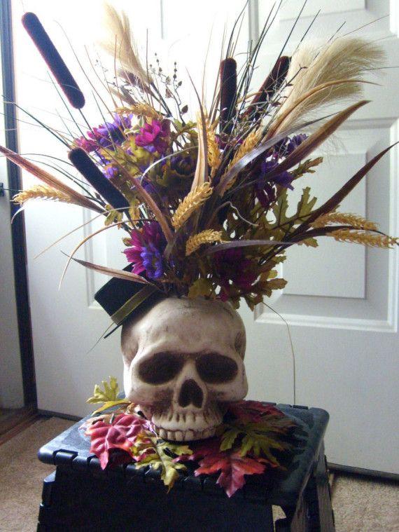 halloween floral arrangements   HALLOWEEN SKELTON SKULL FLOWER ARRANGEMENT DECORATION SALE FOR THE ...